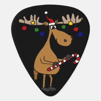 Funny Christmas Moose with Ornaments Guitar Pick