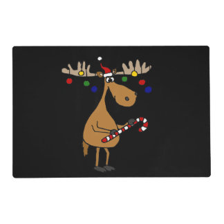 Funny Christmas Moose with Ornaments Placemat