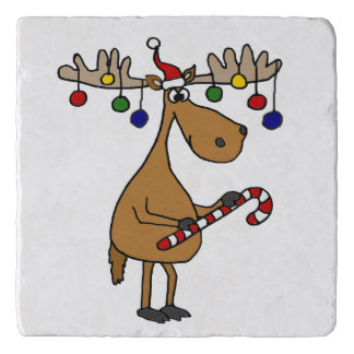 Funny Christmas Moose with Ornaments Trivet