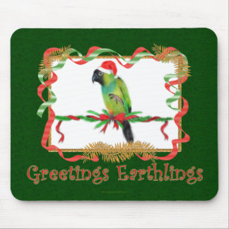 Funny Christmas Mousepad Nanday Conure Parrot