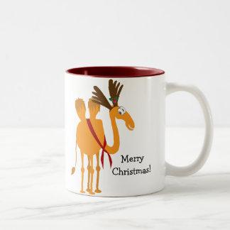 Funny Christmas Mug - Camel in Reindeer Suit