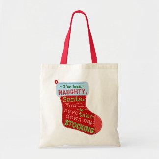 Funny Christmas Naughty Santa Claus Stocking Joke Budget Tote Bag