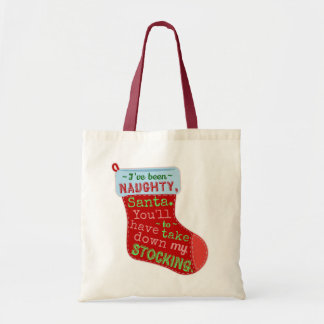 Funny Christmas Naughty Santa Claus Stocking Joke Tote Bag