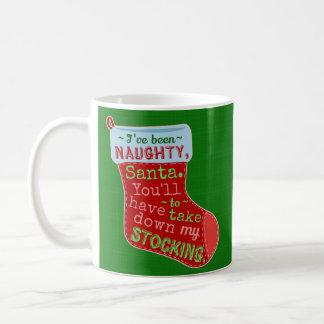 Funny Christmas Naughty Stocking Santa Claus Joke Coffee Mug