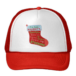 Funny Christmas Naughty Stocking Santa Claus Joke Trucker Hat