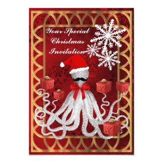 "Funny Christmas octopus on red damask 5"" X 7"" Invitation Card"