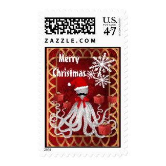Funny Christmas octopus Santa claus Postage