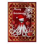 Funny Christmas octopus santa on red damask Card