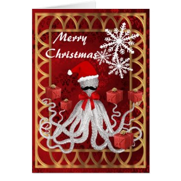 Christmas Themed Funny Christmas octopus santa on red damask Card