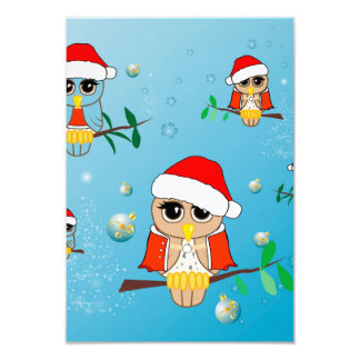 Funny christmas owls 3.5x5 paper invitation card