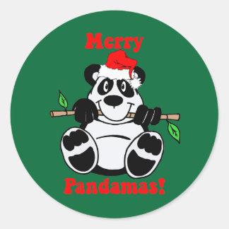 Funny Christmas Panda Bear Classic Round Sticker