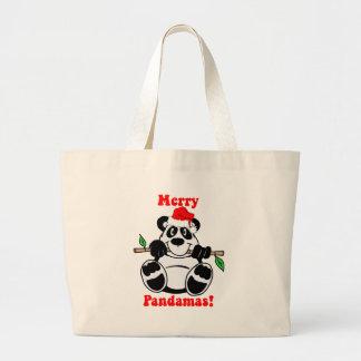 Funny Christmas Panda Bear Large Tote Bag