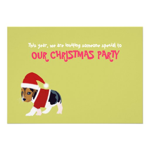 "Funny Christmas Party Invitation Card (Dog) 5"" X 7"" Invitation Card 