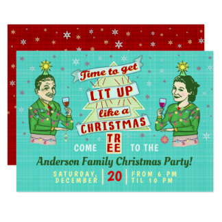 Funny Christmas Party Retro Adult Drinking Holiday Card