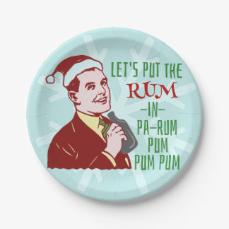 Funny Christmas Party Retro Rum Adult Holiday Paper Plate