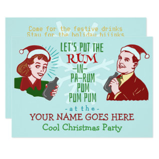 Funny Christmas Party Retro Rum Adult Holiday V2 Card at Zazzle