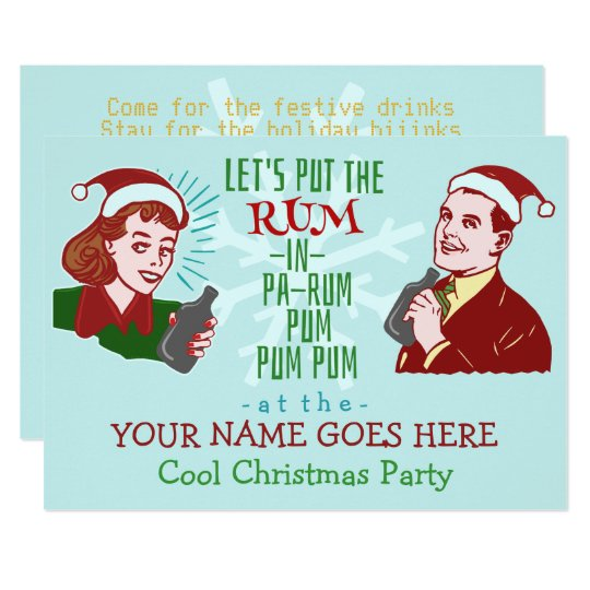 funny christmas party retro rum adult holiday v2 card - Funny Christmas Party Invitations
