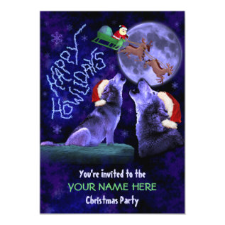 Funny Christmas Party Ugly Sweater Wolf Pun Card at Zazzle