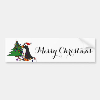 Funny Christmas Penguin Art Bumper Sticker