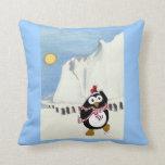 Funny Christmas penguin dancing in the Antarctic. Throw Pillow
