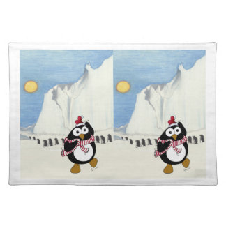 Funny Christmas penguin dancing in the Antarctic. Placemat