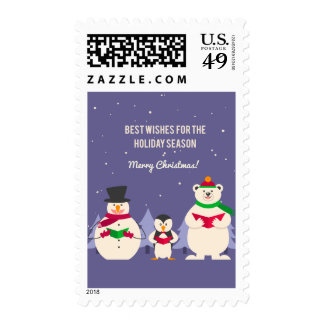 Funny Christmas Penguin Polar bear and snowman Postage Stamps