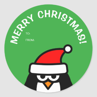Funny Christmas penguin to and from tag stickers
