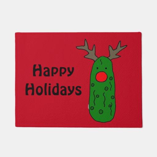 Funny Christmas Pickle Reindeer Art Doormat Zazzle