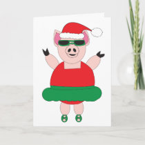 Funny Christmas Pig Ballet Personalize Card