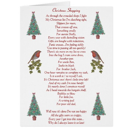 Funny Christmas Poem Robin And Xmas Tree Big Card Zazzle