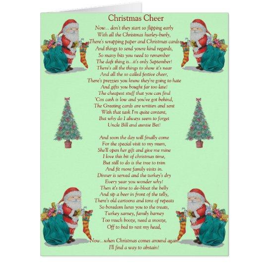 Poem About A Christmas Tree: Funny Christmas Poem Santa And Xmas Tree Big Card
