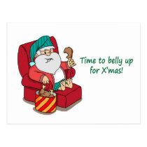 Funny Christmas Postcard: Santa bulks up Postcard
