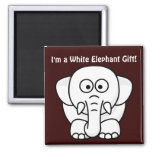 Funny Christmas Present: Real White Elephant Gift! 2 Inch Square Magnet