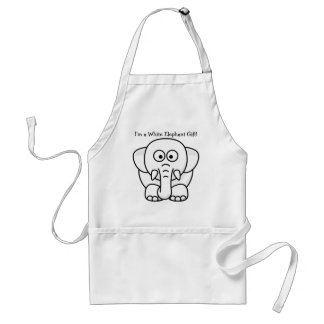 Funny Christmas Present: Real White Elephant Gift! Adult Apron