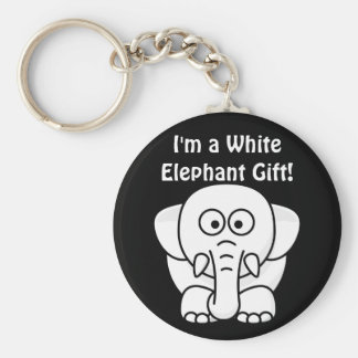 Funny Christmas Present: Real White Elephant Gift! Basic Round Button Keychain