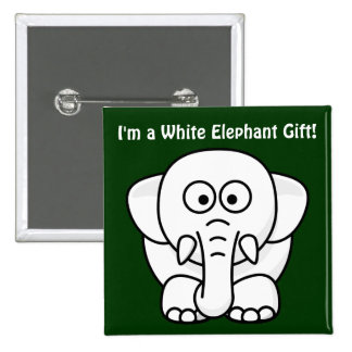 Funny Christmas Present: Real White Elephant Gift! 2 Inch Square Button