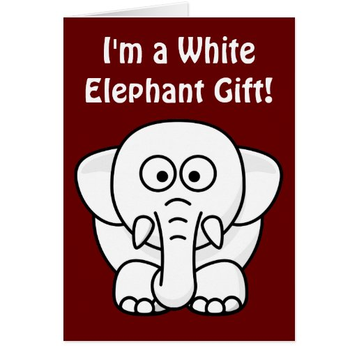 Funny Christmas Present Real White Elephant Gift Card