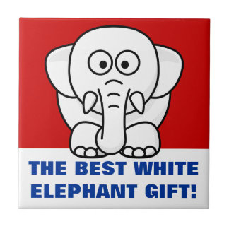 Funny Christmas Present: Real White Elephant Gift! Ceramic Tile
