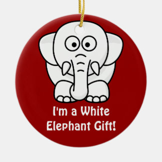 Funny Christmas Present: Real White Elephant Gift! Double-Sided Ceramic Round Christmas Ornament