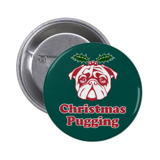 Funny Christmas Pug Button