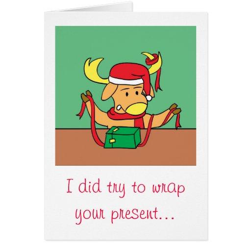 Funny christmas reindeer cartoon greeting card zazzle for Funny reindeer christmas cards