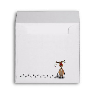 Funny Christmas Reindeer - Envelope Square