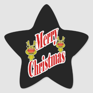 "Funny Christmas Reindeer ""Merry Christmas"" Star Sticker"