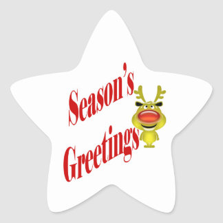 "Funny Christmas Reindeer ""Season's Greetings"" Star Sticker"