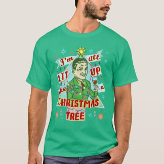Funny Christmas Retro Drinking Humor Man Lit Up T-Shirt