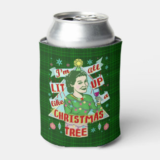 Funny Christmas Retro Drinking Humor Woman Lit Up Can Cooler