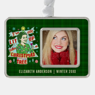 Funny Christmas Retro Drinking Humor Woman Lit Up Christmas Ornament