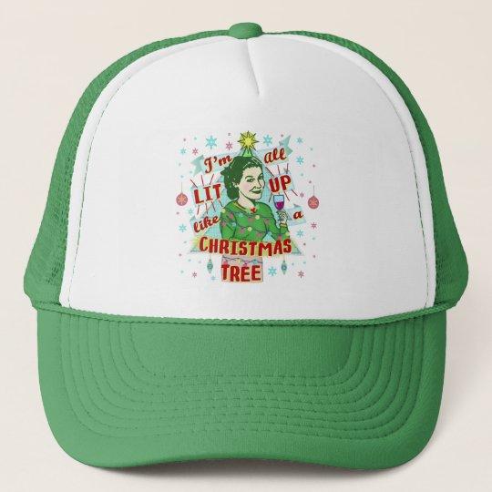 ba6e1693bb4 Funny Christmas Retro Drinking Humor Woman Lit Up Trucker Hat ...