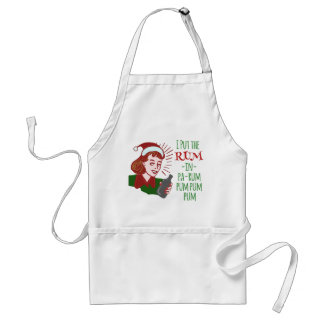 Funny Christmas Retro Drinking Rum Woman Holiday Adult Apron