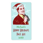 Funny Christmas Retro Holiday Beer Brewing Bottle Shipping Label